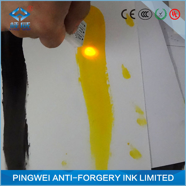 Red to orange uv fluorescent ink for inkjet printing