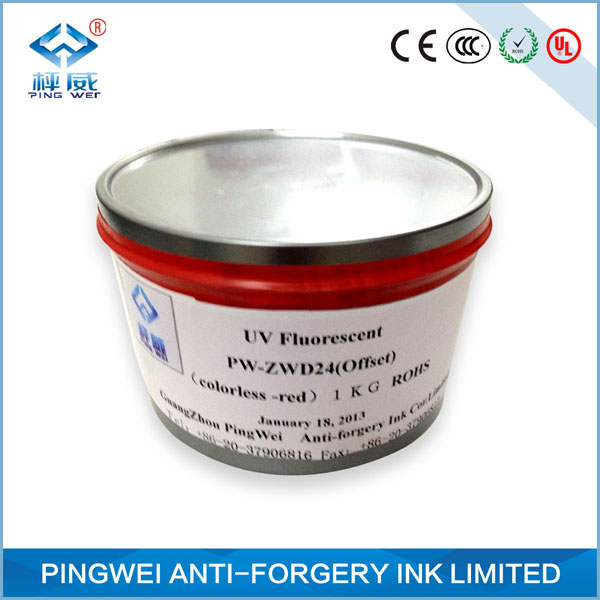 Black to black uv fluorescent ink for intaglio printing