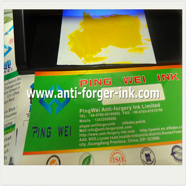 Black to yellow UV Fluorescent Ink for inkjet printing