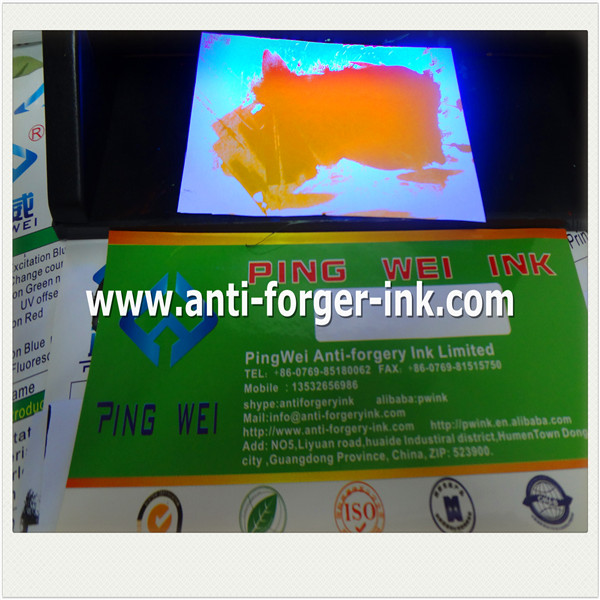 Orange to red UV Fluorescent Ink for spcial screen printing