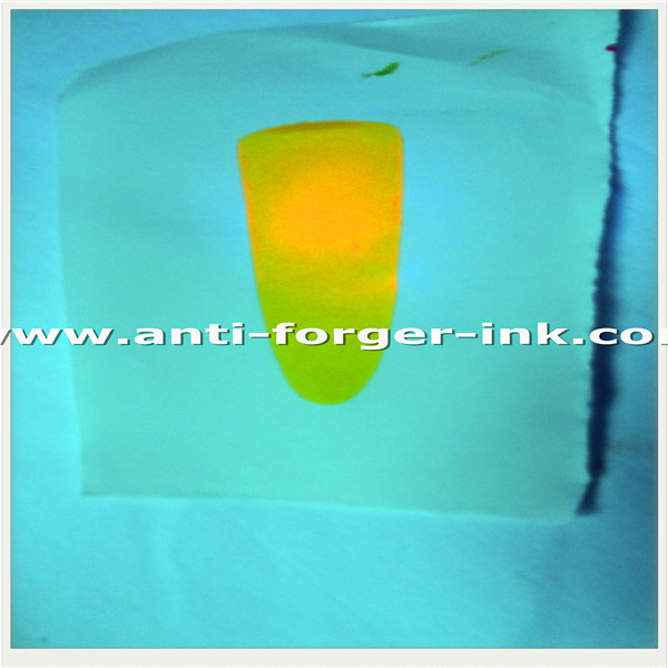 Green to yellow green UV Fluorescent Ink for relief printing