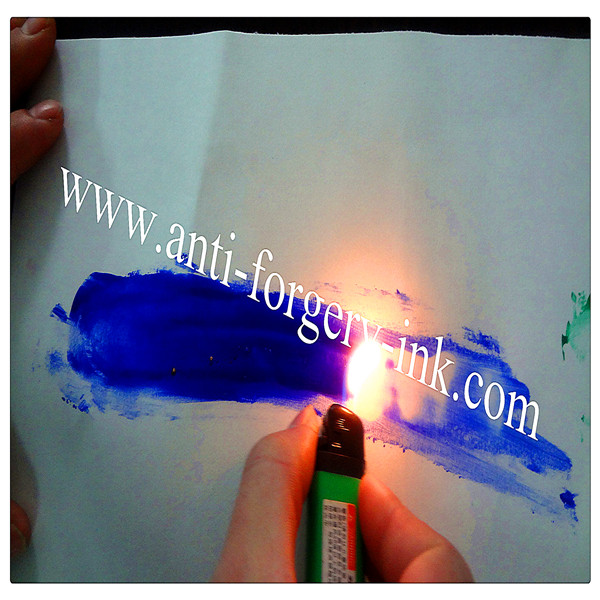 Sky blue to invisible Temperature ink for gravure printing